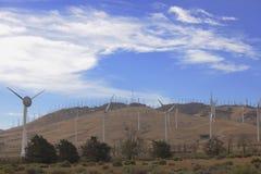 风力场在沙漠 免版税图库摄影