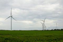 风力场在爱得华王子岛 免版税库存照片