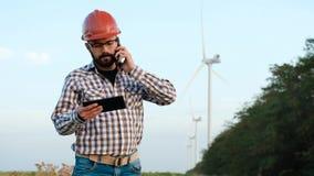 风力植物的工程师 股票录像
