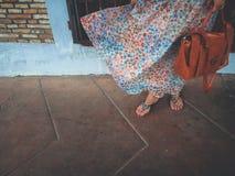 风吹的裙子 库存图片