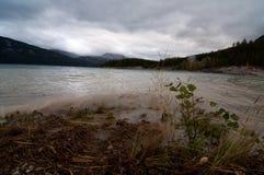 风和浪潮起伏的水在横渡亚伯大的萨斯喀彻温省 库存图片