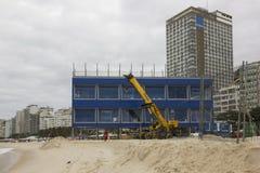 风大浪急的海面在里约影响两奥林匹克工作 库存照片