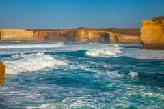风大浪急的海面在维多利亚澳大利亚 免版税图库摄影