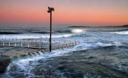 风大浪急的海面流动 免版税图库摄影