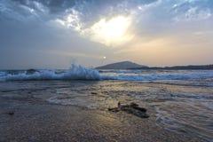 风大浪急的海面海在冬天 图库摄影