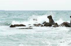 风大浪急的海面风暴 库存图片