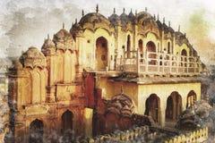 风宫殿在斋浦尔,印度 库存图片
