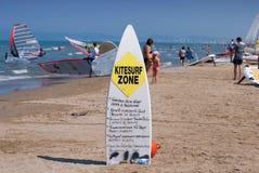 风帆冲浪区域标志 免版税库存图片