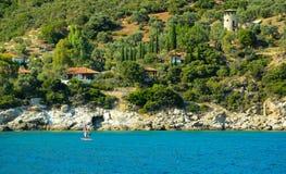 风帆冲浪在爱琴海 库存照片