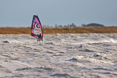风帆冲浪在风暴 图库摄影