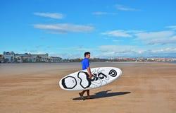 风帆冲浪在Malvarrosa海滩,巴伦西亚 图库摄影