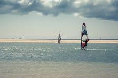风帆冲浪在Sotavento海滩 免版税库存照片