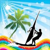 风帆冲浪夏天的设计 r 皇族释放例证