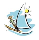 风帆冲浪的人 免版税库存图片