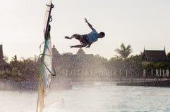 风帆冲浪的会议在泰国公园 PWA2014特内里费岛 图库摄影