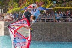 风帆冲浪的会议在泰国公园 PWA2014特内里费岛 免版税图库摄影