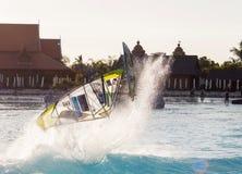 风帆冲浪的会议在泰国公园 PWA2014特内里费岛 免版税库存图片