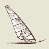 风帆冲浪的剪影 库存图片