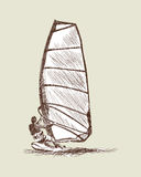 风帆冲浪的剪影 库存照片