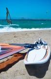 风帆冲浪的场面 免版税图库摄影