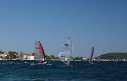 风帆冲浪的竞争 库存图片