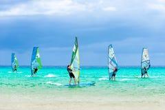 风帆冲浪的竞争- Sotavento海滩,费埃特文图拉岛 库存照片