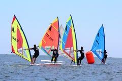 风帆冲浪,风帆冲浪者类 免版税库存图片