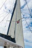 风帆和索具游艇反对天空在多米尼加共和国 免版税库存图片