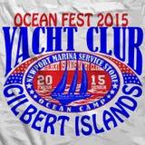 风帆游艇俱乐部人T恤杉图表传染媒介设计 图库摄影