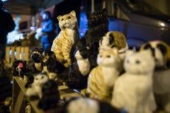 风帆的陶瓷猫在公平的艺术,猫纪念品,节日礼物 库存图片
