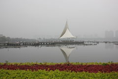 风帆结构的竞争在庭院(芜湖,中国)里 免版税库存照片
