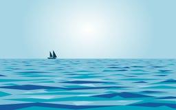 风平浪静和小船 免版税库存照片