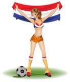 风扇女孩荷兰足球 图库摄影