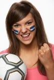 风扇女性旗标橄榄球洪都拉斯油漆年&# 免版税库存图片