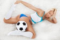 风扇性感的足球 库存照片