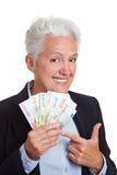 风扇藏品货币前辈妇女 图库摄影