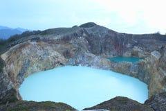风景三个色的湖克里穆图火山, Ende 库存照片
