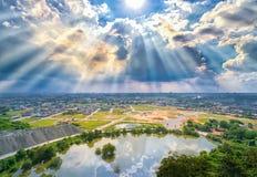 风景下午在一个小镇 免版税库存图片