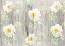 风景与野生玫瑰的水彩花卉背景 皇族释放例证