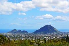 风景全景毛里求斯海岛山 库存图片