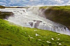 风景古佛斯瀑布在冰岛 免版税库存照片
