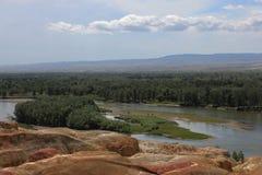 风景叫五颜六色的沙子 免版税库存照片