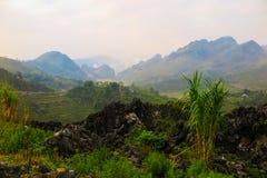 风景和山在河江市,北越南 免版税库存图片