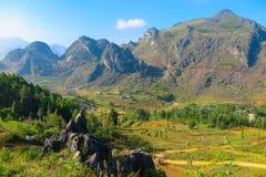 风景和山在河江市,北越南 库存图片