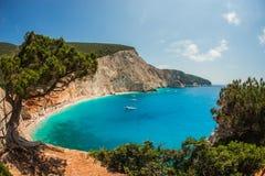 风景和独特的海滩Levkada海岛的,希腊波尔图Kaziki 免版税库存图片