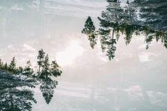 风景在内华达山,加倍暴露 免版税库存照片