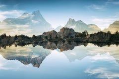 风景在内华达山,加倍暴露 图库摄影