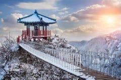 风景在冬天, Guemosan在韩国 库存图片