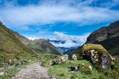 风景在安地斯 迁徙的Salkantay,秘鲁 库存照片