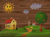 风景在引起的木背景的安心绘画 向量例证